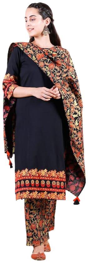 Divyanshi Fashions Women Viscose Rayon Floral Kurti;Palazzo and Dupatta Set(Black)