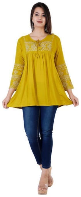 DIVYANSHI FASHIONS Women Embroidered Fusion top - Yellow