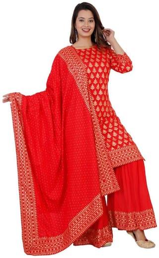 DIVYANSHI FASHIONS Women Red Printed Regular Kurti With Sharara And Dupatta