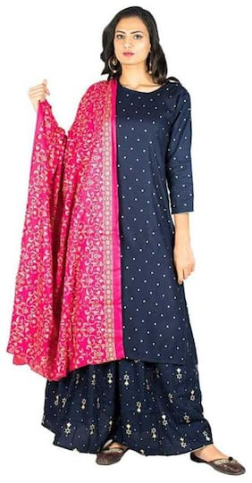 DIVYANSHI FASHIONS  Women Viscose Rayon Polka Dots Navy Blue Kurta  With Skirt With Dupatta