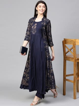 Divyanshi Fashions Navy Blue Viscose Rayon Embroidered Beautiful Kurti And Palazzo With Shrug For Womens
