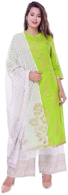DIVYANSHI FASHIONS  Women Viscose Rayon Floral Green Kurta  With Palazzo With Dupatta
