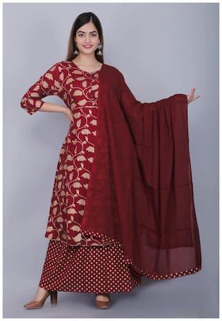 DIVYANSHI FASHIONS Women Maroon Printed Regular Kurti With Skirt And Dupatta