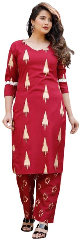 DIVYANSHI FASHIONS Women Maroon Printed Regular Kurti With Pants