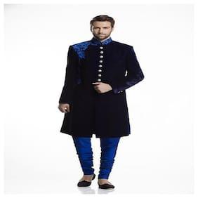 Diwan Saheb Velvet Medium Sherwani - Blue