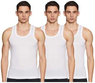 DIXCY SCOTT 3 Sleeveless Scoop Neck Men Vest - White