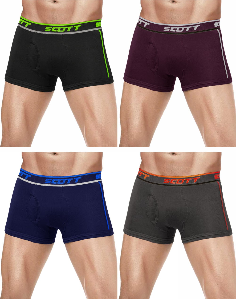 DIXCY SCOTT Solid Trunks   Assorted ,Pack Of 4 by Kuku Ki Dukaan