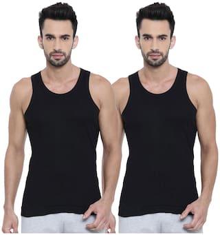 DIXCY SCOTT 2 Sleeveless Scoop Neck Men Vest - Black