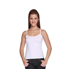 DIXCY SCOTT Cotton Solid White Camisole (Pack of 1 )