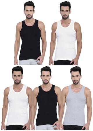 DIXCY SCOTT 5 Sleeveless Scoop Neck Men Vest - Assorted