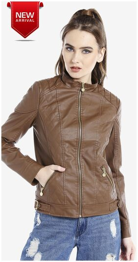 DJ&C  Banded Collar Biker Women's Brown Jacket