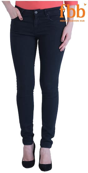 DJ&C Women Regular Fit Mid Rise Solid Jeans - Blue