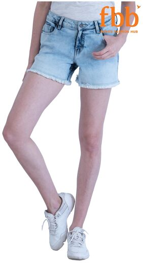 DJ&C Blue Color Mid-Rise Shorts