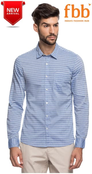 DJ&C Men Blue Horizontal Stripes Regular Fit Casual Shirt