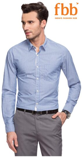 DJ&C Men Regular Fit Formal Shirt - Blue
