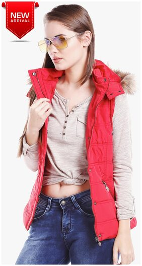 DJ&C Bomber Women's Red Jacket with Detachable Hoodie