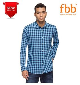 DJ&C Men Slim Fit Casual shirt - Blue