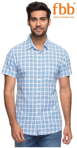 DJ&C Men Blue Checked Slim Fit Casual Shirt