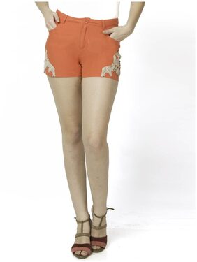DJ&C Women Solid Shorts - Orange