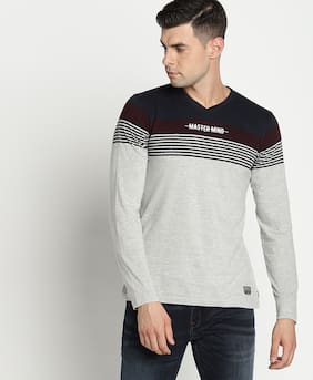 DJ&C Men Regular fit V neck Striped T-Shirt - Multi