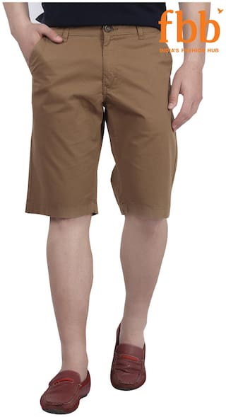 DJ&C Cotton Solid Khaki Men's Shorts