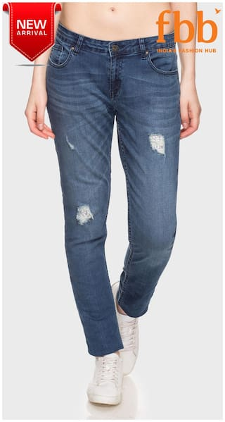 DJ&C Distressed Skinny Fit Womens Blue Jeans