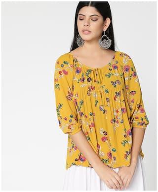 DJ&C Women Floral Regular top - Yellow