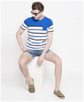 DJ&C Mens Blue Stripes T-Shirt with Patch Pocket