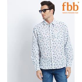 DJ&C Mens WHITE Printed Regular Fit Linen Shirt
