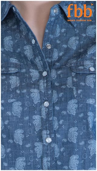 Print Shirt Blue Navy Paisley DJ amp;C Casual HS8q8I4