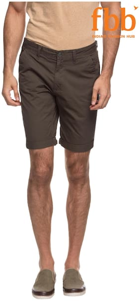 DJ&C Olive Brown Solid Chino Shorts