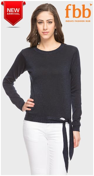 b98d368b526 Buy DJ C Shimmer Women s Navy Blue Sweater with Tie-Up Online at Low ...