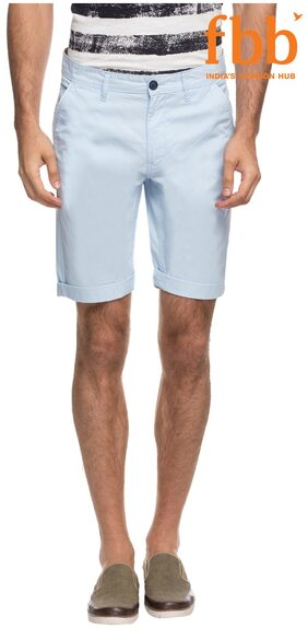 DJ&C Sky Blue Solid Chino Shorts