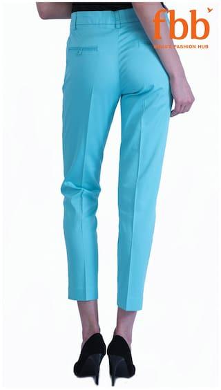 Sky Blue Casual Solid amp;C Trousers DJ Eq5wYzRx