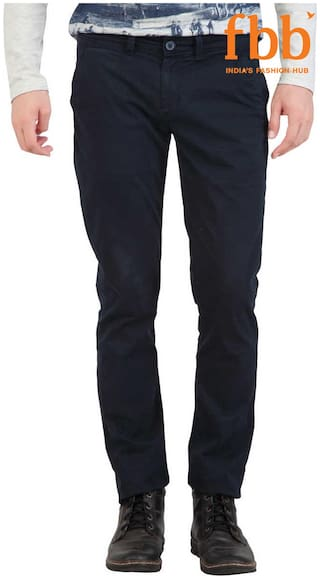 DJ&C Slim Fit Men's Blue Casual Trousers