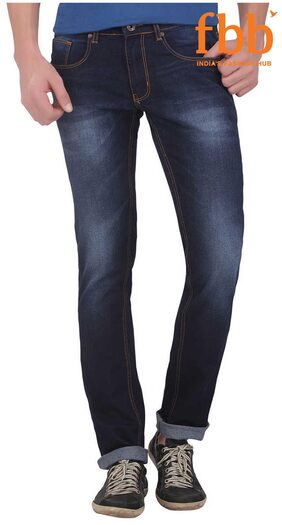 DJ&C Men's Mid Rise Slim Fit Jeans - Blue