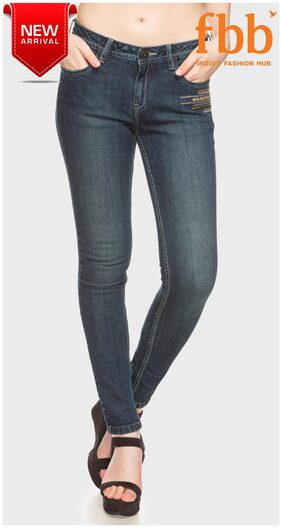 DJ&C Solid Low Waist Womens Blue Jeans
