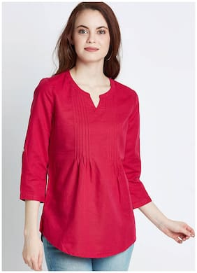 Women Solid Round Neck Top