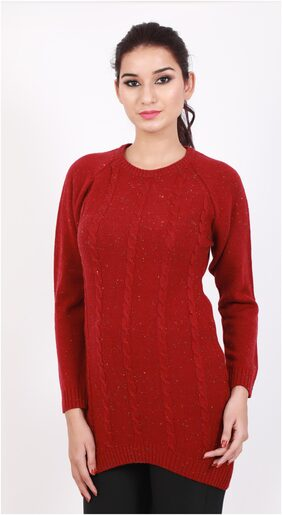 DJ & C Solid Womens Red Sweater