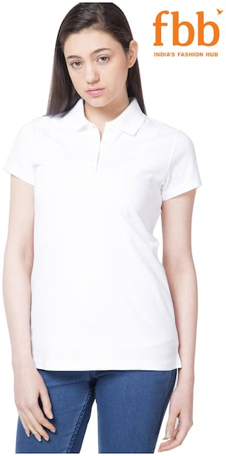 DJ&C Women Solid Polo neck T shirt - White
