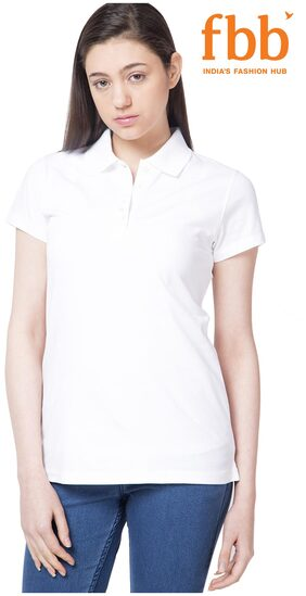 DJ&C Solid Women's Off White Polo T-Shirt