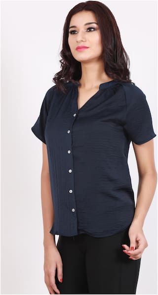 DJ&C Women Regular Fit Solid Shirt - Blue