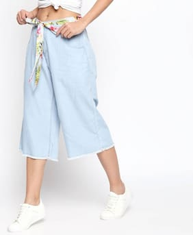 DJ&C Women Relaxed Fit Mid Rise Solid Jeans - Blue