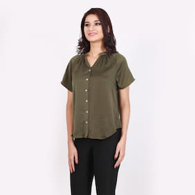 DJ&C Women Regular Fit Solid Shirt - Green