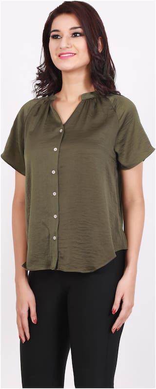 DJ&C Women Regular Fit Solid Shirt - Green