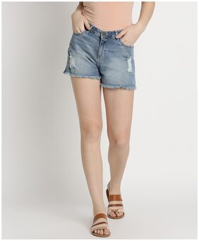 DJ&C Women Solid Shorts - Blue