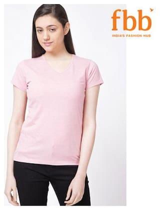 DJ&C Women Solid Round neck T shirt - Pink