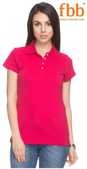 DJ&C Solid Women's Pink Polo T-Shirt