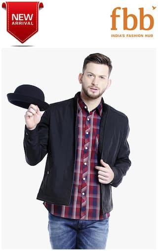 DJ&C Stand Collar Panelled Men's Black Jacket