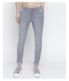 DJ&C Women Skinny Fit Mid Rise Solid Jeans - Grey